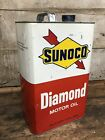 Vintage SUNOCO Diamond Motor Oil 10 Quart Can Gas Oil Advertising Empty Can