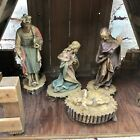 Vtg Italian Nativity Set Christmas Manger Scene 6 Figures Made in Italy Antique