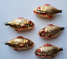 West Germany Blown Glass Fish Christmas Ornaments Set of 5