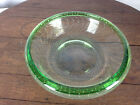 Vintage Green Controlled Bubble Art Glass Bowl WH 3