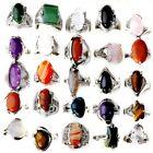 80 100Pcs Wholesale Bulk Ring Natural Stone Silver Plated Band Rings Jewelry Lot