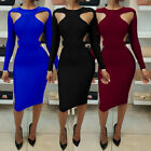 Womens Ladies Bodycon Long Sleeve Evening Party Cocktail Club Long Maxi Dress