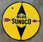 BLUE SUNOCO ROUND PORCELAIN GASOLINE PUMP PLATE SIGN