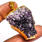 Amethyst Druzy Gold Plated 925 Sterling Silver Overlay Pendant Jewelry Sz 226