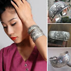Women Vintage Tibet Charm Bracelet Carved Silver Open Wide Bangle Wristband