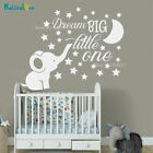 Dream Big Little One Quote Decor Cute Elephant Moon Star Baby Kids Room Decal Nu