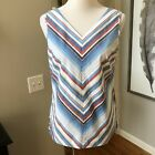 Brooks Brothers Top 8 Blue Red White Stripe Sleeveless V Neck Cotton Shirt Top