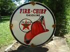 OLD VINTAGE 1951 TEXACO FIRE-CHIEF PORCELAIN ENAMEL OIL GAS FUEL PUMP SIGN