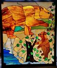 BEAR  CUB Leaded Stained GLASS Window ANIMALS in NATURE Forest Hunter LIGHTED