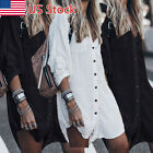 Women Long Sleeve V Neck Mini Dress Summer Casual Long Shirt Dress Tops Blouse