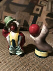 Vintage Black Americana Clown  Seal Salt And Peppers Shakers