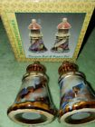 VTG Hand Painted Blue Gray Gold Lighthouses Salt and Pepper Designspirations