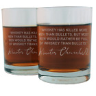 Winston Churchill Famous Quote Etched Whiskey Glass Set