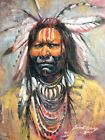 Lakota Native American Indian Original Oil painting SCOTTSDALE Western ART CHIEF
