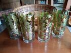 LOT 4 Colony Mid Century Gold Green Leaves High Ball Tumblers Glasses