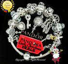 Authentic PANDORA Bracelet Silver with Gold Key Heart Love European Charms New