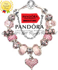 Authentic Pandora Charm Bracelet Silver Pink LOVE STORY with European Charms New