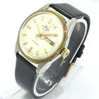VINTAGE MEN'S FORTIS GENEVE DAY DATE 34MM AUTOMATIC SWISS MADE WRIST WATCH A3793