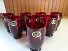 Hocking Baltic (8)  Royal  Ruby Red Glass Water Tumblers 4 1/2