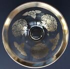 GEORGES BRIARD SIGNED CLEAR GLASS BOWL WITH SILVER TRIM AND DESIGN