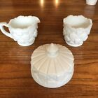 Vintage White Milk Glass Creamer Sugar And Butter Dishes