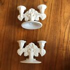 Vintage White Milk Glass Double Candle Stick Holder Pair