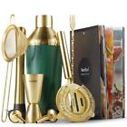 VonShef Green  Brushed Gold 9pc Cocktail Shaker Set with Recipe Book  Gift Box