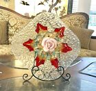 Garden Yard Art Blue Crackle Plate Art Glass Leaf Murano bowl and Pink Rose