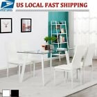 5 PCS DINING TABLE WHITE BLACK GLASS TABLE  4 CHAIRS FAUX LEATHER DINNING SET