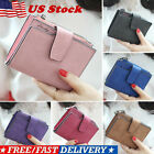 Womens Leather Small Mini Wallet Card Holder Zip Coin Purse Clutch Solid Handbag