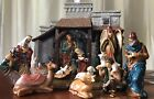 RARE KIRKLAND Hand Painted Porcelain NATIVITY 15 pcs set LIGHTED CRECHE w Box