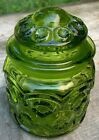 Stars Canister Apothecary Jar Green Glass Small