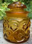 Stars Canister Apothecary Jar Gold Yellow Glass Small