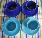 Vintage Fiesta COBALT & TURQUOISE Blue TEA CUPS +  SAUCERS ~ Set of 4 ~