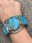 MASSIVE NATIVE AMERICAN SILVER 5 STONE TURQUOISE CUFF BRACELET HUGE STONES OLD