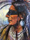 Native American Indian ORIGINAL OIL PAINTING Coeur dAlene WESTERN ART Shaman