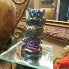 BEAUTIFUL CARNIVAL GLASS OWL 4 1 2 INCHES TALL