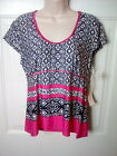 NWT Linea Donatella Sz M Womens Black White Pink Cap Sleeve Stretchy Top