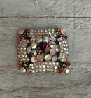 Vintage BIG Unsigned AB Topaz Rhinestone Domed Brooch 1950s Beautiful Quality