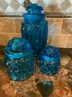 3 Vintage Moon And Stars Turquoise/ Blue Glass Canister Jars with Lids