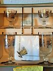Vintage MidCentury Barware Libbey Glass Gold Top Hat Cocktail for Two Set in Box