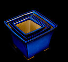 Japanese Cascade bonsai pot 6 x 6 x 45 Inside depth Blue 3 set