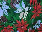 Vintage Oval Christmas Tablecloth Poinsettias pine cones  Fringe 71 x 54