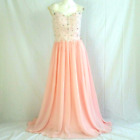 Custom Made Formal Gown M Pink Chiffon White Lace Rhinestones Open Back Maxi