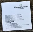 MAURICE LACROIX Instructions Manual Booklet Masterpiece Retrograde Pontos Moon