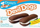 DRAKES CAKES  Devil Dogs  1 Box  (8 count Drake's) Northeastern tradition