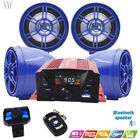 Motorcycle ATV Anti Theft Speakers USB Audio System Stereo Bluetooth Remote Blue
