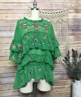 Zara Green Embroidered Ruffle Blogger Chic Floral Top Blouse SZ M Sold out