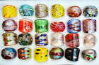 Wholesale Lots 24Pcs Colorful Summer Murano Glass Lampwork Rings 17 19MM US Ship