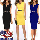 US Sexy Women Party Office Formal Cocktail Evening Pencil Bodycon Slim Dress